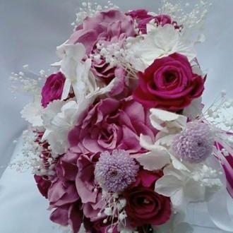 bouquetgardeniasminicrisantemosehortensiaspreservadascramberry