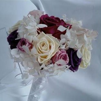 bouquetpequenorosasehortensiaspreservadascramberry